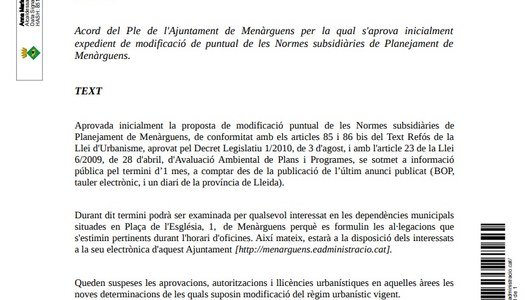 Acord del Ple de l'Ajuntament de Menàrguens per la qual s'aprova inicialment expedient de modificació de puntual de les Normes subsidiàries de Planejament de Menàrguens.