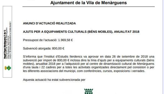 Ajuts per a equipaments culturals