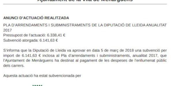 Pla d'arrendaments i subministraments de la Diputació de Lleida anualitat 2017