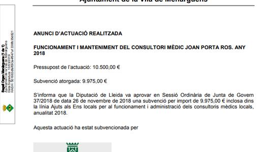 Anunci: Funcionament i manteniment del consultori mèdic Joan Porta Ros 2018