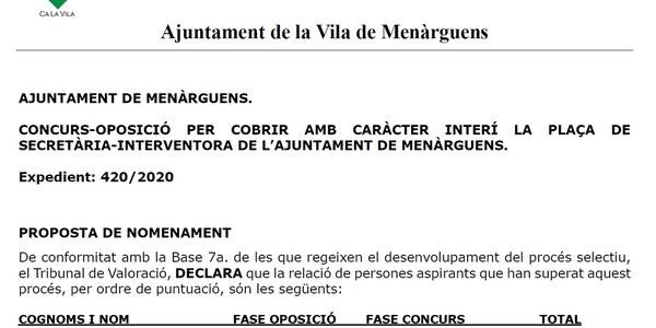 CONCURS-OPOSICIÓ PER COBRIR AMB CARÀCTER INTERÍ LA PLAÇA DE SECRETÀRIA-INTERVENTORA DE L'AJUNTAMENT DE MENÀRGUENS
