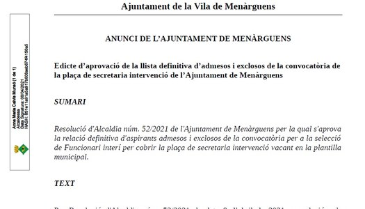 Edicte d'aprovació de la llista definitiva d'admesos i exclosos de la convocatòria de la plaça de secretaria intervenció de l'Ajuntament de Menàrguens