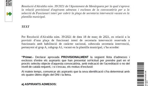 Edicte d'aprovació de la llista provisional d'admesos i exclosos de la convocatòria de la plaça de secretaria intervenció de l'Ajuntament de Menàrguens