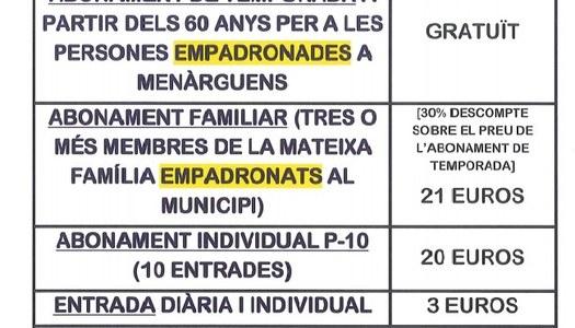 Piscines municipals: preus temporada 2019
