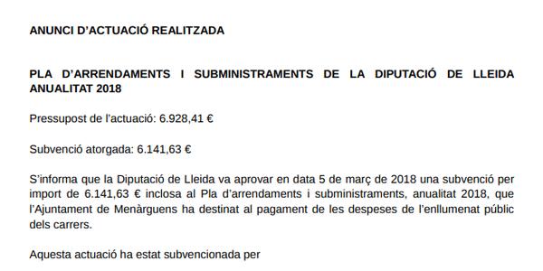 PLA D'ARRENDAMENTS I SUBMINISTRAMENTS DE LA DIPUTACIÓ DE LLEIDA ANUALITAT 2018