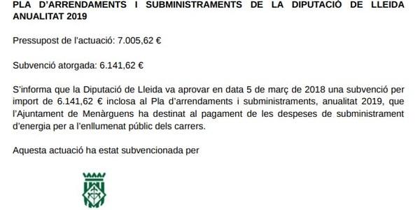 Pla d'arrendaments i subministraments de la Diputació de Lleida anualitat 2019