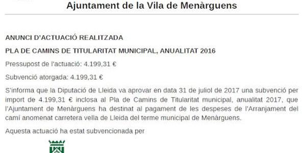 Pla de camins de titularitat municipal, anualitat 2016
